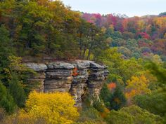 Conkles's Hollow State Nature Preserve Rim Trail with fall color in the Hocking Hills of Ohio