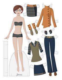 Paper dolls by Julie Allen Matthews.  A new fashion paper doll free download to print & cut.