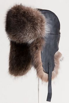 844741b7decdf Canadian Lambskin Leather Trapper Hat with Raccoon Fur Trim