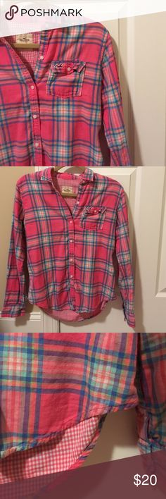 Pink Flannel Super soft pink/blue/green/white flannel from Hollister. Looks great with jeans and a white shirt underneath if you want to wear it unbuttoned. Only worn twice. No holes or stains. *smoke free home* *price is negotiable- make an offer!* Hollister Tops Button Down Shirts