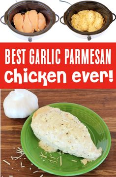 Crockpot Chicken Recipes - Slow Cooker Garlic Parm Chicken! This dreamy dish will be the dinner highlight of your entire week! Trust me... it's SO good!! Go grab the recipe and give it a try this week! Delicious Crockpot Recipes, Easy Chicken Recipes, Slow Cooker Recipes, Cooking Recipes, Chicken Meals, Simple Recipes, Easter Dinner Recipes, Garlic Parmesan Chicken, Southern Recipes