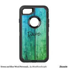 Green and Blue Wood Personalize Otterbox Case   A uniquely designed wood grain image, this otterbox phone case features a green and blue blended theme.