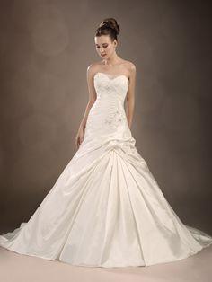 Floor Length Sweetheart A line With Beading Taffeta Classic Wedding Gowns