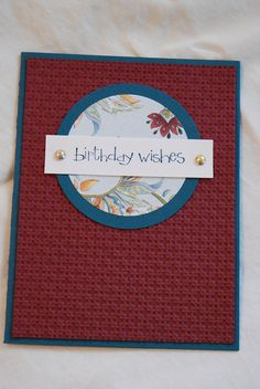 Burgundy and not quite Navy, I think, with old DSP and generic brads. Stampin Up Birthday Card