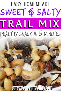 Clean Eating 6 Ingredient Trail Mix - This vegan trail mix recipe is a great vegan trail mix recipe with dried fruit, vegan chocolate chips, and healthy nuts. This DIY trail mix recipe is a healthy sweet trail mix perfect for mixed dried fruit recipe ideas. This mixed nut recipe snack is a sweet trail mix recipe healthy snack. With nuts, this clean eating protein snack is a vegan homemade trail mix recipe road trip snack. Sweet trail mix recipe healthy snacks. Delicious healthy fruit recipe! Banana Recipes Clean Eating, Sweet Potato Recipes Healthy, Healthy Sweet Snacks, Healthy Dessert Recipes, Clean Eating Snacks, Fruit Recipes, Snack Recipes, Desserts, Healthy Low Calorie Snacks
