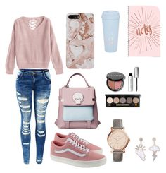 """outem school day"" by mariagomisp on Polyvore featuring Vans, FOSSIL, Bobbi Brown Cosmetics and ban.do"