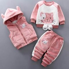 Vests+ Sweatshirt + Pants Suit – Cotton Castles Luxury Kids Pattern Type: Cartoon Collar: O-Neck Sleeve Style: Regular Outerwear Type: Coat Closure Type: Zipper Fit: Fits true to size, take your normal size Baby Outfits, Newborn Outfits, Baby Girl Dresses, Kids Outfits, Winter Outfits, Stylish Baby Clothes, Cute Baby Clothes, Baby Girl Fashion, Kids Fashion