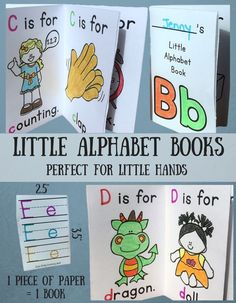 Sweet little A-Z alphabet books! 1 piece of folded paper gives them an 8 page book. $