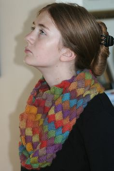 Entrelac Rainbow Cowl pattern by Carol Wells in Mini Mochi 105 Tapestry Rainbow by Crystal Palace Yarns