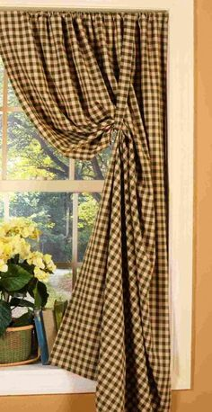 Pair Colonial-style Curtain Panels by Home Sweet Homespuns