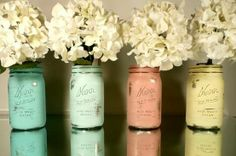 painted mason jars from the inside out.always wanted mason jars for my wedding center pieces but this is so pretty. mom's got plenty at home too! Do It Yourself Furniture, Do It Yourself Home, Romantic Wedding Colors, Romantic Weddings, Wedding Colours, Country Weddings, Do It Yourself Inspiration, Little Presents, Home Decor Sale