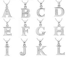 Letter A B C D E F G H I J K L M N O P Q I S T U V W X Y Z Pendant 925 Sterling Silver Necklace Valentine's Day Gift Ulove