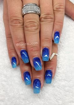 blue ombre glitter nails