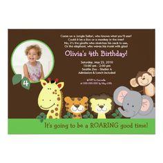 Girl Jungle Safari Zoo Animal Photo Birthday 5x7 Paper Invitation Card