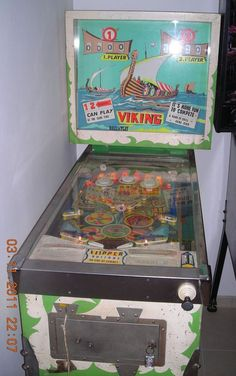 """Viking pinball machine made by Renov-Automatic-Jolux"""" in 1968 Vikings Game, Pinball Wizard, Penny Arcade, Retro Toys, Family Games, Young Boys, Arcade Games, More Fun, Museum"""