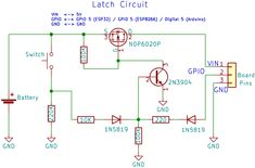 Learn how to build a Latching Power Switch Circuit (Auto Power Off Circuit), that you can use to power off the Arduino, or any microcontroller. Electronics Mini Projects, Power Electronics, Hack Internet, Esp8266 Arduino, Electronic Engineering, Electronic Circuit, Rasberry Pi, Induction Heating, Development Board