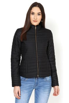 The nylon quilted jacket is inspired from the down feather sporty jacket look. The golden zipper at front and at cuffs adds to the detailing of this chic winter short jacket. Winter Shorts, Quilted Jacket, Westerns, Winter Jackets, Sporty, Chic, Collection, Black, Style