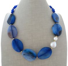 Blue agate necklace beaded necklace jade choker by Sofiasbijoux