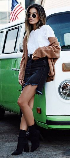 #winter #fashion //  White Ttop // Camel Cardigan // Denim Skirt // Black Booties