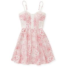 Aeropostale Paisley Fit & Flare Dress ($14) ❤ liked on Polyvore featuring dresses, vestidos, short dresses, tops, true red, lace mini dress, red skater skirt, pink dress, red fit and flare dress and pink floral dress