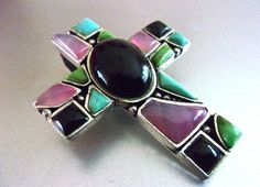 Multi Gem Cross Sterling SilverPendant Cabochons Handcrafted