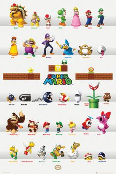 A great poster of characters from Super Mario Bros! Perfect for fans of classic Nintendo video games. Power Up with the rest of our amazing selection of Super Mario Bros posters! Need Poster Mounts. Super Mario Brothers, New Super Mario Bros, Super Mario Party, Super Smash Bros, Mario Nintendo, Mario Bros., Mario And Luigi, Super Nintendo, Nintendo Characters
