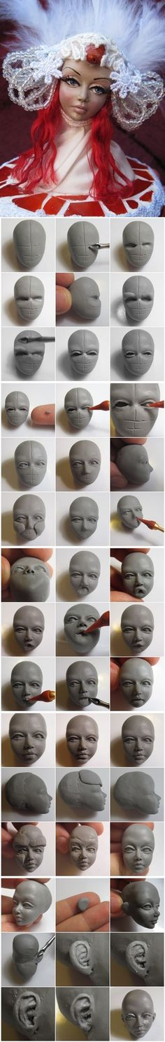 How to model a clay doll head - pictorial sculpting tutorial.