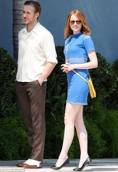 Date day: Emma Stone and Ryan Gosling were spotted on the Los Angeles set of their film La...