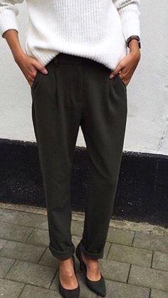 Black pants white sweat