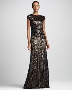 T54H7 David Meister Bead-Stripe Gown