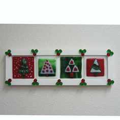 Items similar to Fused Glass Christmas Tree Panel on Etsy