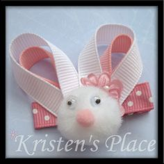 Easter Bunny Hair Bow by KristensPlace on Etsy Ribbon Hair Clips, Hair Ribbons, Diy Hair Bows, Ribbon Bows, Ribbon Flower, Barrettes, Hairbows, Ribbon Sculpture, Hair Decorations