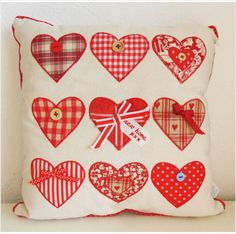 New Shabby Cottage Chic Nine Red Heart Cushion With NEW HOME Tag