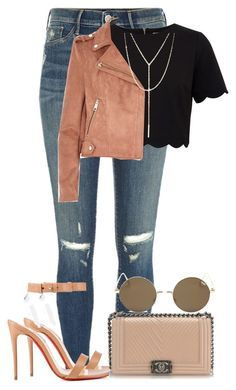 """""""Sem título #53"""" by trmaisa ❤ liked on Polyvore featuring River Island, Ted Baker, Christian Louboutin, South Moon Under and Chanel"""