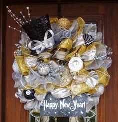 Deco Mesh HAPPY NEW YEAR Wreath by decoglitz on Etsy