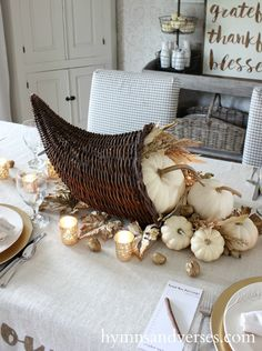 Count Your Blessings Cornucopia Thanksgiving Tablescape - Hymns and Verses