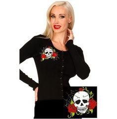 Voodoo Vixen Skull Roses Cardigan