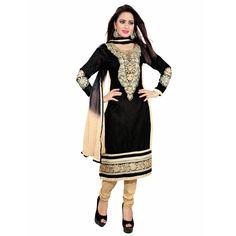 Designer Cotton Black & Beige Unstitched Straight Fit Suit -1006(ST-Mona)