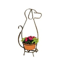 Deer Park 34 in. H x 18 in. W x 10 in. D Whimsical Dog Planter Holder-AN105X - The Home Depot