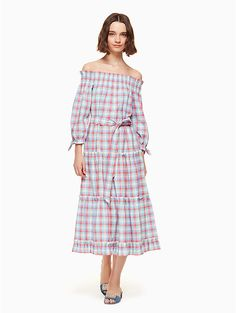 a madras plaid is quintessentially spring, and the off shoulder detail of this dress only adds to that effect. swing by the farmers' market, bicycle to the beach or just soak up the sun in this stylish number. (shoes optional.)