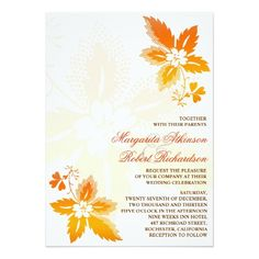 beautifu autumn leaves classic wedding invitations