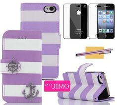 iPhone 4 Case, iPhone 4S Case,OMIU(TM)Fashion Rainbow Color Stripe with Corsair Decorate Wallet Case with Creadit Card Holder Cover Protector For iPhone 4 4G 4S(Purple),Sent Screen Protector+Stylus+Cleaning Cloth