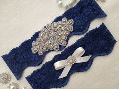 LOVE! wedding garter navy blue bridal garter navy blue by venusshop, $19.90
