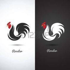 петух: Петух и петух рисованной эскиз на белом фоне, векторные иллюстрации