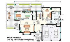 Detaliu proiect de casa - Casa cu ETAJ CL 001 | Proiecte case, proiecte de case, proiecte vile, proiecte de casa, planuri case, planuri de case, planuri casa, house project, residential projects, interioare, amenajari Banks Building, Vile, Bungalow, House Plans, Floor Plans, How To Plan, Interior Design, Projects, Model