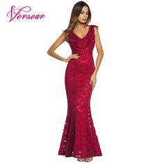 090ce25eb9 Find More Dresses Information about Versear Mermaid Maxi Dress for Women  Lace Floral V neck Sleeveless
