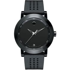Movado Museum Rubber Strap Watch (2.645 BRL) ❤ liked on Polyvore featuring men's fashion, men's jewelry, men's watches, apparel & accessories, black, stainless steel mens watches, mens leather strap watches, movado mens watches and mens black face watches
