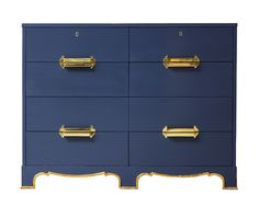 """TOP PICK by Lisa Kahn www.kahndesigngroup.com - Sexy lines & a fabulous color! This Westbury Dressing Chest was included in the design of the Arrowhead Springs Hotel by Dorothy Draper in 1939. The chest has eight drawers with unique, solid brass drawer pulls. The two top drawers lock. A simple half-round molding outlines the shape of the base. Gilt leaf accents are standard. Dimensions: Width: 46"""" (117cm) Depth: 22"""" (56cm) Height: 36"""" (91cm) #HPmkt Kindel Furniture InterHall 102"""