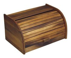 Mountain Woods Large Acacia Wood Roll Top Bread Box & Storage Box, 2015 Amazon Top Rated Bread Boxes #Kitchen