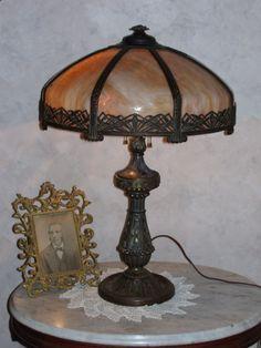 SALEM BROS SLAG GLASS PANEL LAMP ELECTRIC TABLE LAMP